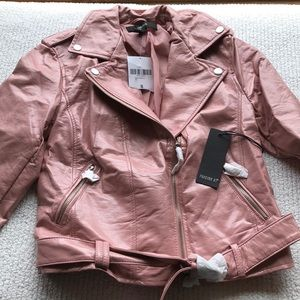 Forever 21 pink shiny faux leather jacket.
